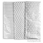 Seidenpapier, 50x70 cm, 17 g, 6 Blatt - Silber Mix