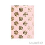 Seidenpapier - Rosa mit Gold Punkte, 4 Stück