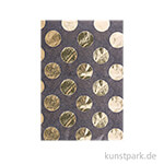 Seidenpapier - Schwarz mit Gold Punkte, 4 Stück