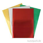 Spiegelkarton Block - Gold, Silber, Rot & Grün, 210 x 295 cm