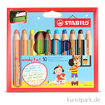 STABILO woody 3 in 1 Farbstift 10er Etui mit Anspitzer
