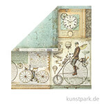 Stamperia Scrappapier - Voyages Fantastiques Retro Bicycle, 30,5 x 30,5 cm, 190g