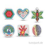 Steckbrett für Bügelperlen - Geometrische Figuren, 6 Stück sortiert