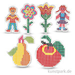 Steckbrett für Bügelperlen - Kinder und Blumen, 6 Stück sortiert
