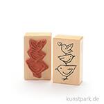 Stempel - Drei Vögel mit Herz - 5x8 cm