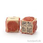 Stempel - Vier florale Muster - Würfel