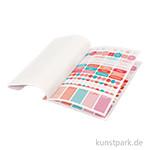 Sticker-Buch für Kreativbücher - Wasserfarbendesign Gold-Koralle-Rot, 8 Bögen