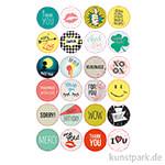 Sticker rund - Cool Wishes, selbstkebend, 24 Stück sortiert