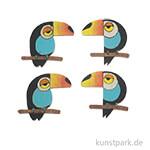 Streuteil Tukan, Holz, 8 Stück 3x3cm