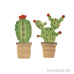 Streuteile, Kaktus im Topf, Holz, 8 Stück, 4,5x1,5cm