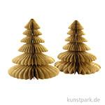 Tannenbäume aus Wabenpapier - Gold, 2 Stück