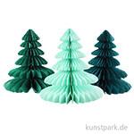 Tannenbäume aus Wabenpapier - Grün, 3 Stück