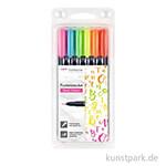 Tombow Fudenosuke Brush Pen - 6er Set Neon Farben