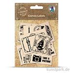 Vintage Canvas Label - Briefmarke, 12 Stück sortiert