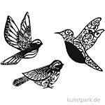 Vintage Laser Dekoration - Vogel, 3 Stück sortiert