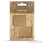 Vintage Papierfähnchen - Eckig aus Kraftpapier, 10 Stück