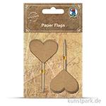 Vintage Papierfähnchen - Herz aus Kraftpapier, 10 Stück