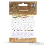 Vintage Spitzenband - Weiß, 2,2 cm x 1 m, 2 Stück sortiert