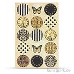 Vintage Sticker - Selection Rund, 2 Blatt, 30 Stück sortiert