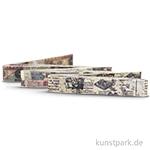 Vintage Stoffbänder - Zeitung 3-er Set, 1,5 cm x 1 m, selbstklebend