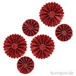 Vivi Gade Rosetten aus Glitzer-Papier, 6 Stück sortiert 35-50 mm | Rot
