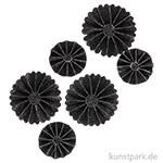 Vivi Gade Rosetten aus Glitzer-Papier, 6 Stück sortiert 35-50 mm | Schwarz