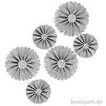 Vivi Gade Rosetten aus Glitzer-Papier, 6 Stück sortiert 35-50 mm | Silber