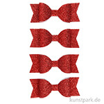 Vivi Gade Schleifen aus Glitzer-Papier, 4 Stück 31x85 mm | Rot