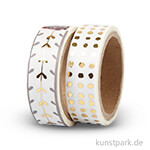 Vivi Gade Washitape - Punkte Gold, 15 mm, Set mit 2x4 m