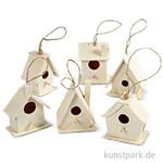 Vogelhaus aus Holz, 7 cm, 6 Stück sortiert