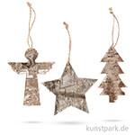 Weihnachtsanhänger aus Holz, 10x8 cm, 3 Stück sortiert