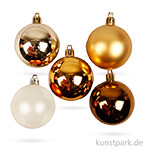 Weihnachtskugeln 6 cm, 20 Stück - Goldtöne