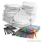 XXL Set - 80 Topflappen mit 72 Textilmalstiften