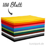 XXL Set - Bastelkarton, 1200 Blatt, DIN A2, 180 g, 12 Farben sortiert