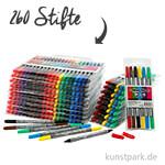 XXL Set - Colortime Dual-Filzschreiber in Kunststoffetuis - 260 Stifte