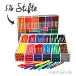 XXL Set - Colortime Fasermaler Basisfarben - 576 Stifte in der Displaybox