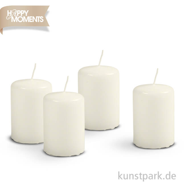 kleine stumpenkerze 24 st ck h he 6cm durchmesser 4cm farbe wei safe candle smash. Black Bedroom Furniture Sets. Home Design Ideas