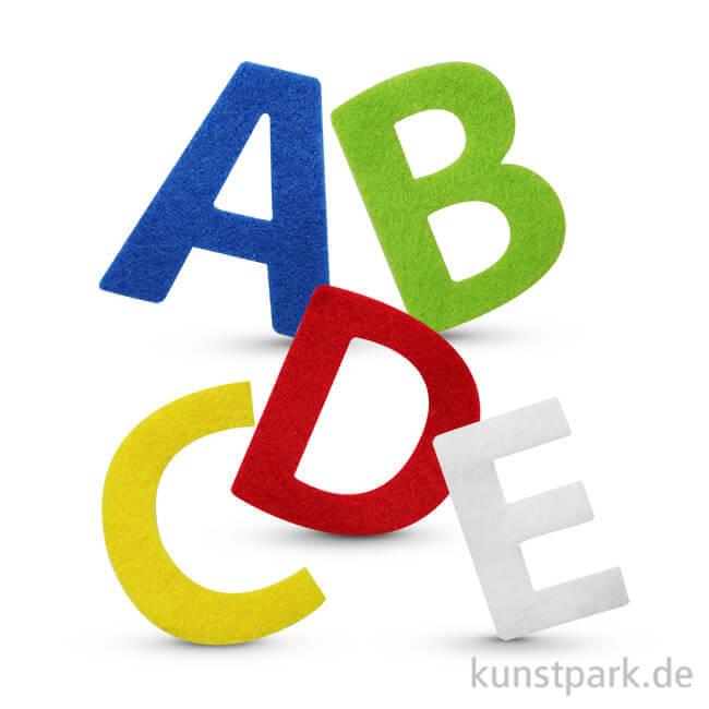 Buchstaben aus Filz, selbstklebend, 150 Stück - farbig sortiert