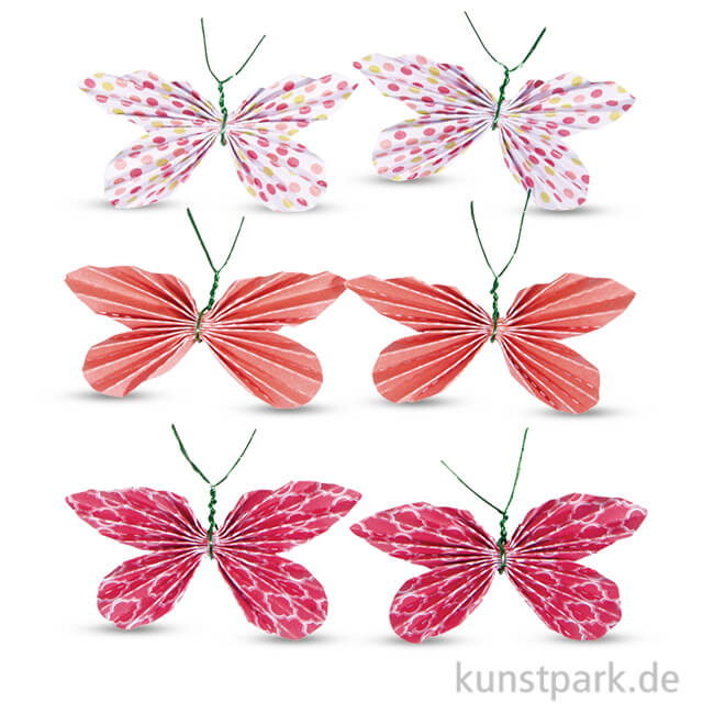 Deko Sticker Papier Schmetterlinge Koralle 6 Stück Sortiert