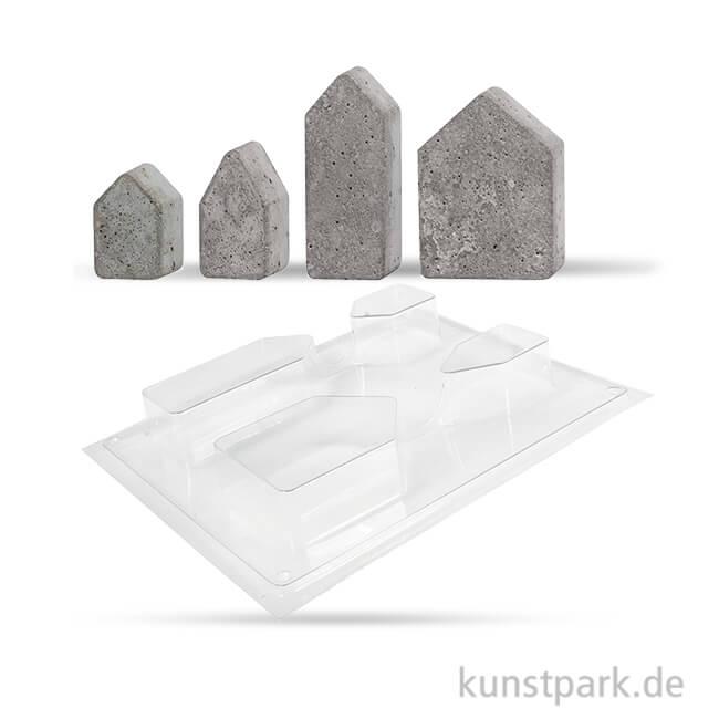 Gießform Häuser 4er Set, 5,5-10 cm, Tiefe 3 cm