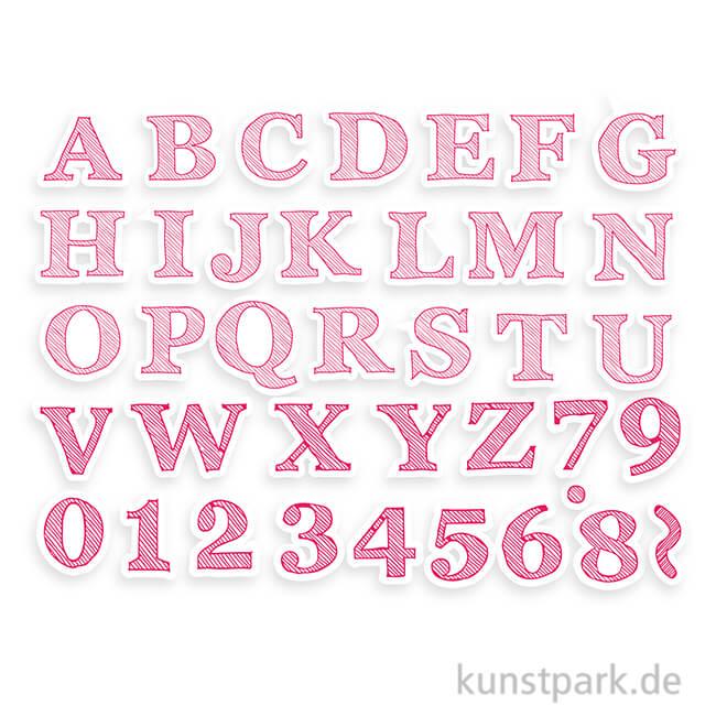 IZINK Pigment Textil Stempel & Farbe, 38+1 Set - Alphabet 2