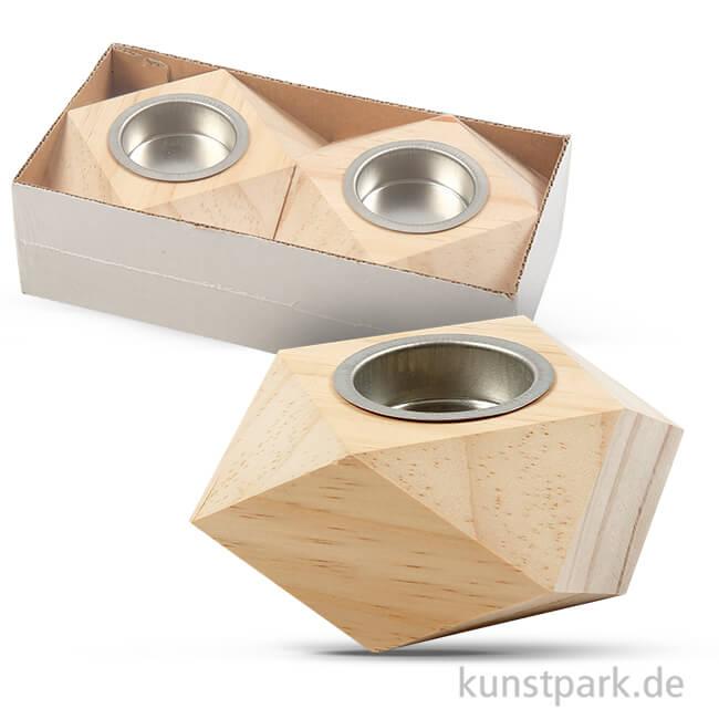 Kerzenhalter aus hellem Holz, 9x9x5 cm, 2 Stück