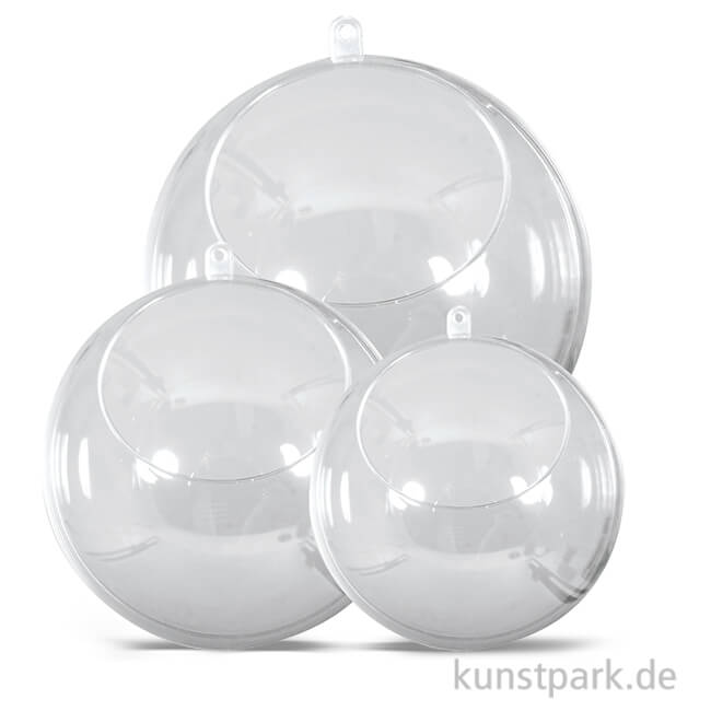 Plastik-Kugel 2-teilig mit Ausschnitt - kristall, 4 Stück